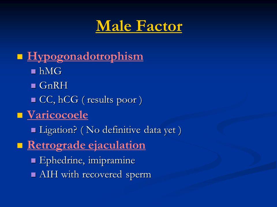 Male Factor Hypogonadotrophism Varicocoele Retrograde ejaculation hMG