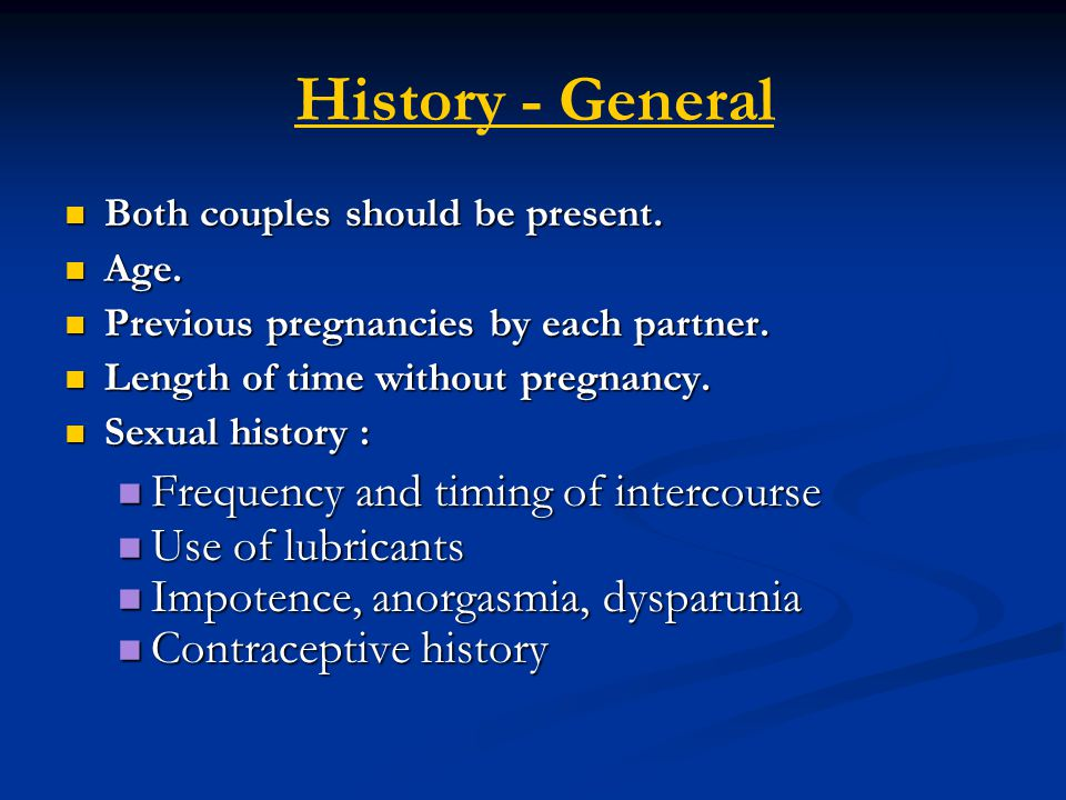 History - General Frequency and timing of intercourse