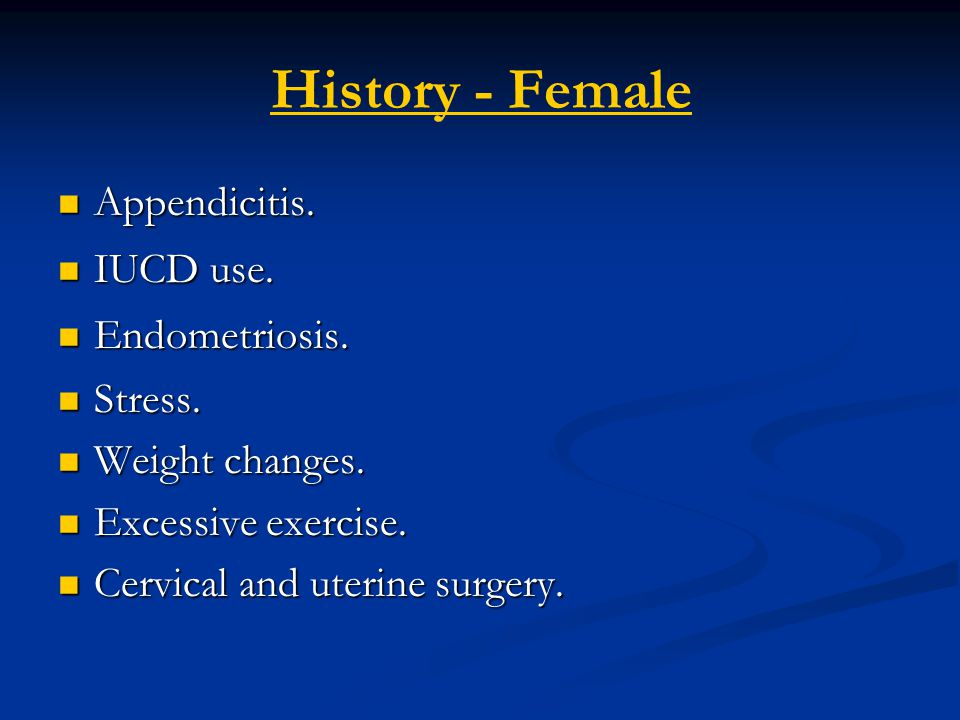 History - Female Appendicitis. IUCD use. Endometriosis. Stress.