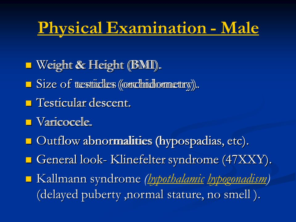 Physical Examination - Male