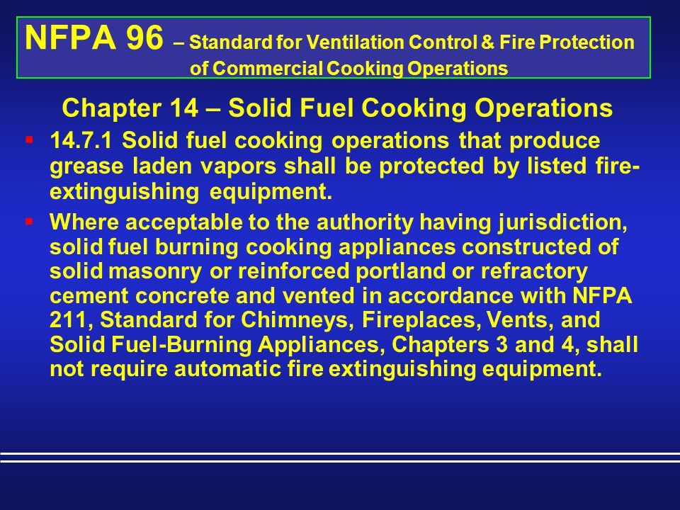 Chapter 14 – Solid Fuel Cooking Operations