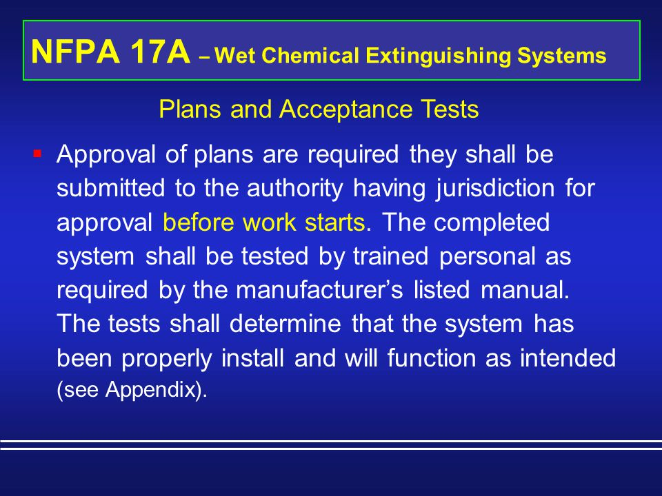 NFPA 17A – Wet Chemical Extinguishing Systems