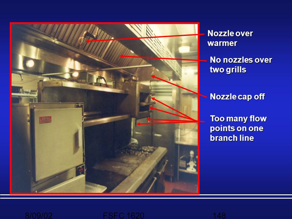 Nozzle over warmer No nozzles over two grills. Nozzle cap off. Too many flow points on one branch line.
