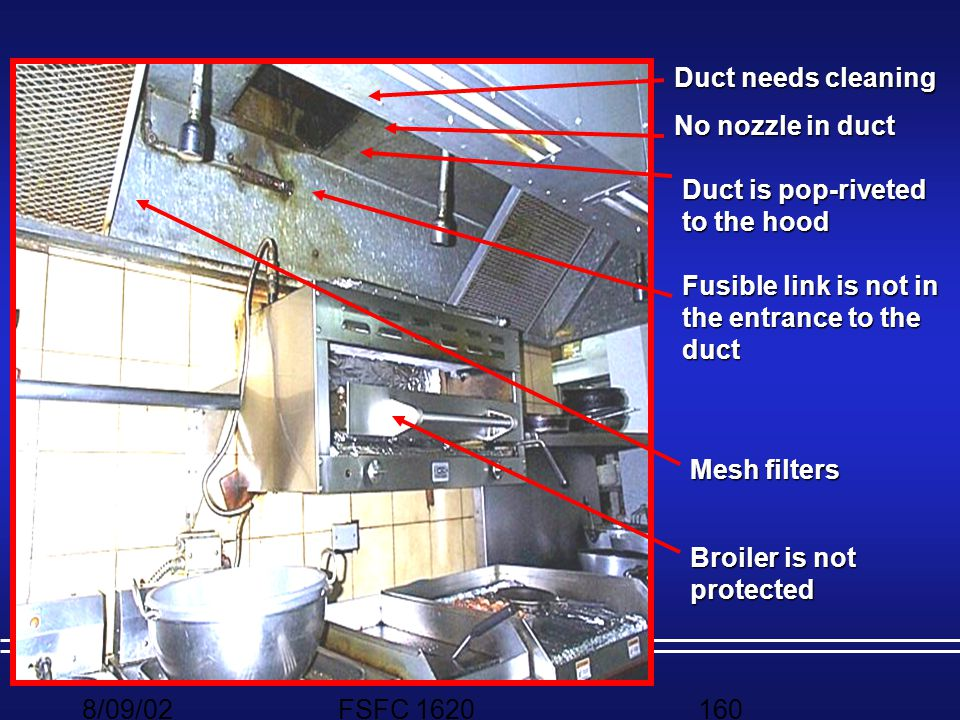 Duct needs cleaning No nozzle in duct. Duct is pop-riveted to the hood. Fusible link is not in the entrance to the duct.