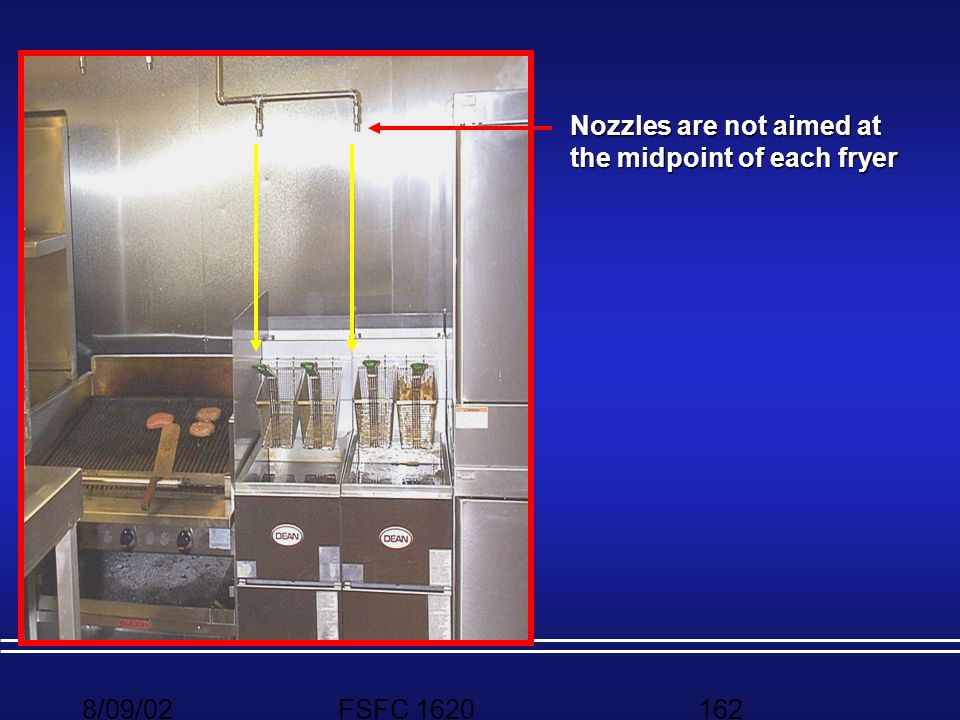 Nozzles are not aimed at the midpoint of each fryer
