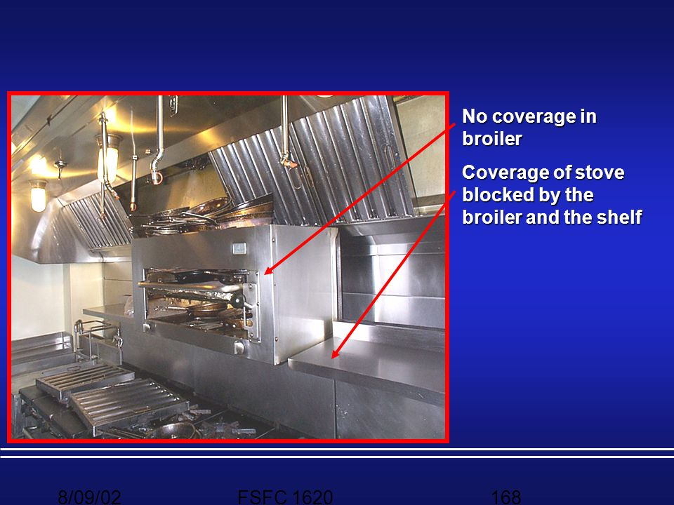 No coverage in broiler Coverage of stove blocked by the broiler and the shelf 8/09/02 FSFC 1620