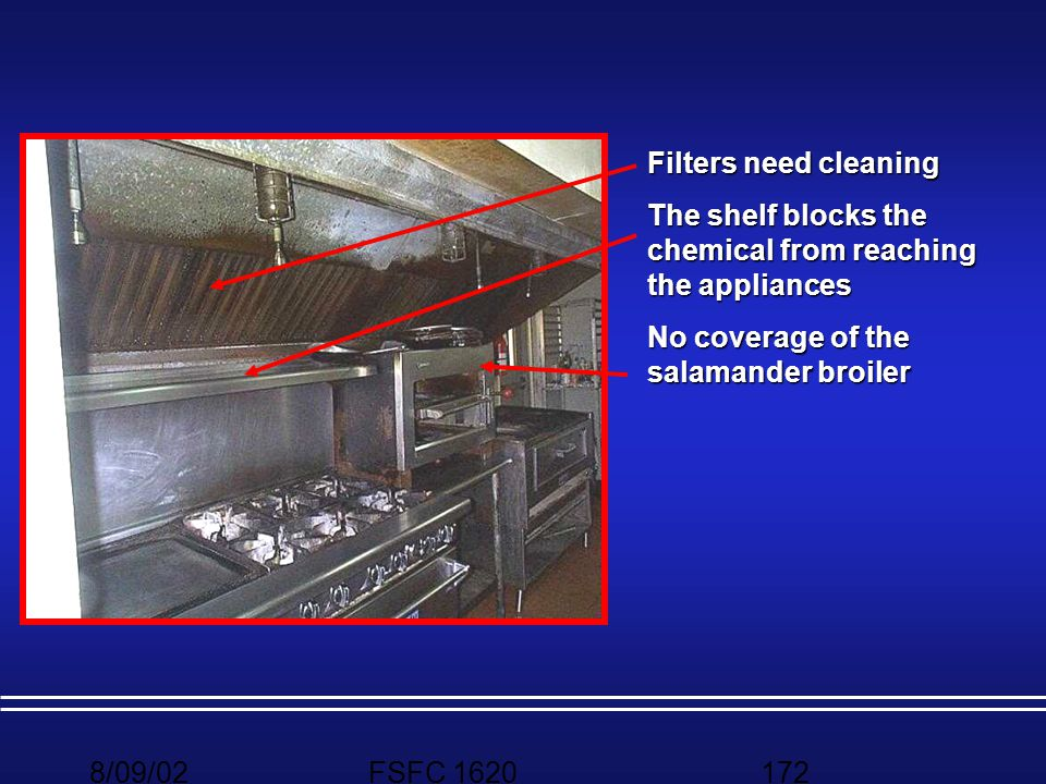 Filters need cleaning The shelf blocks the chemical from reaching the appliances. No coverage of the salamander broiler.