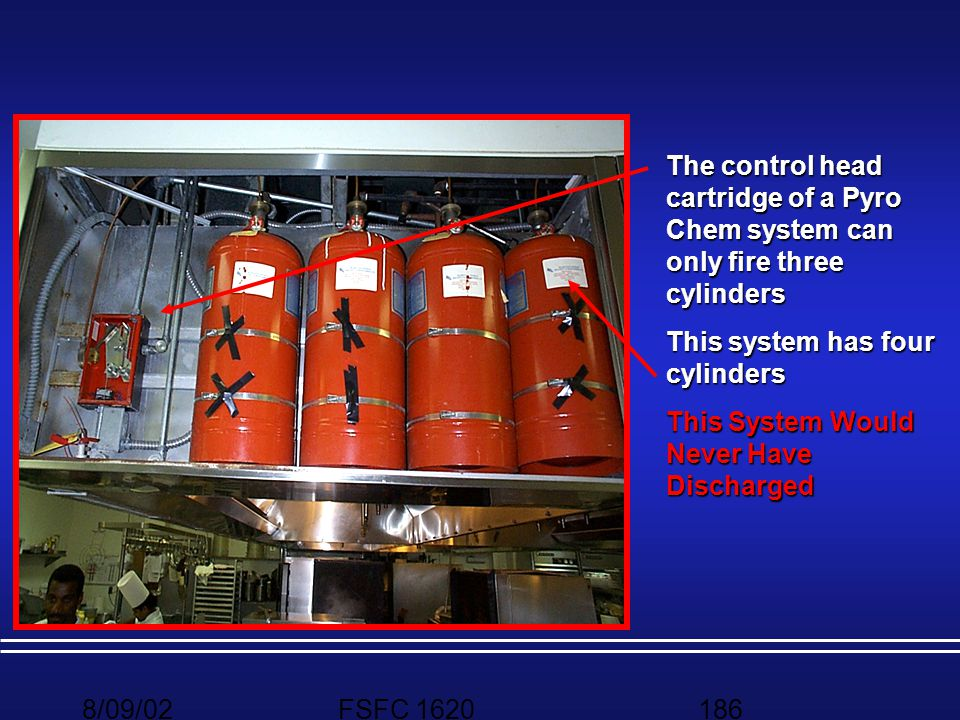 The control head cartridge of a Pyro Chem system can only fire three cylinders