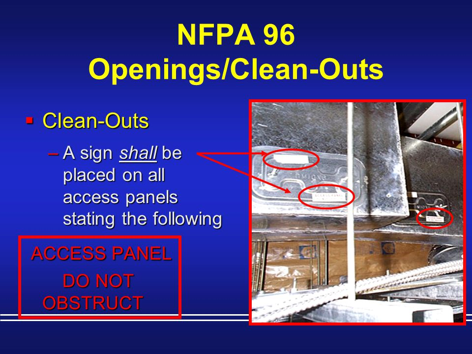 NFPA 96 Openings/Clean-Outs