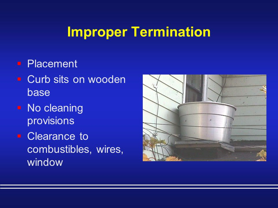 Improper Termination Placement Curb sits on wooden base