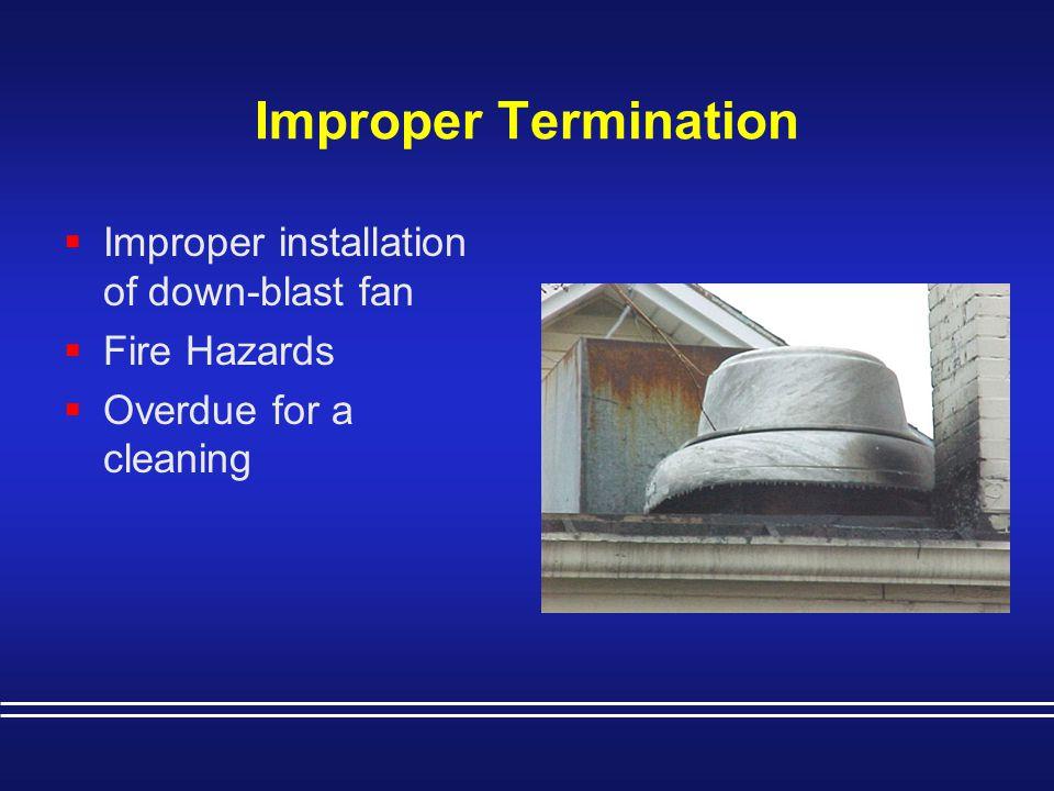 Improper Termination Improper installation of down-blast fan