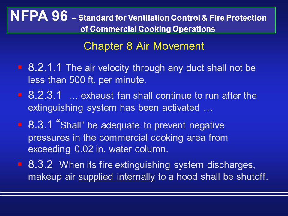 NFPA 96 – Standard for Ventilation Control & Fire Protection of Commercial Cooking Operations