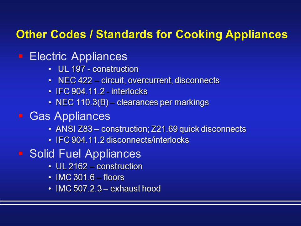 Other Codes / Standards for Cooking Appliances