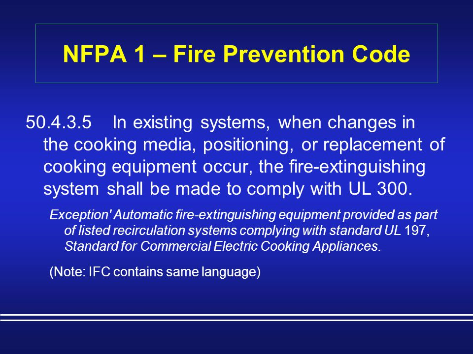NFPA 1 – Fire Prevention Code