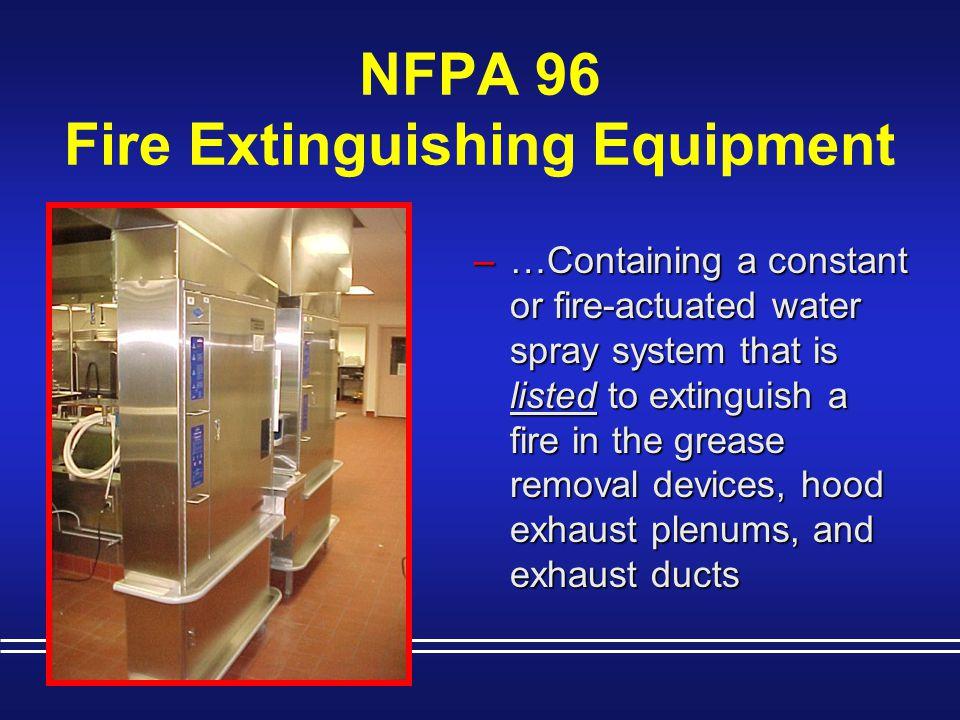 NFPA 96 Fire Extinguishing Equipment