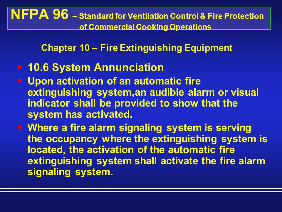 Chapter 10 – Fire Extinguishing Equipment