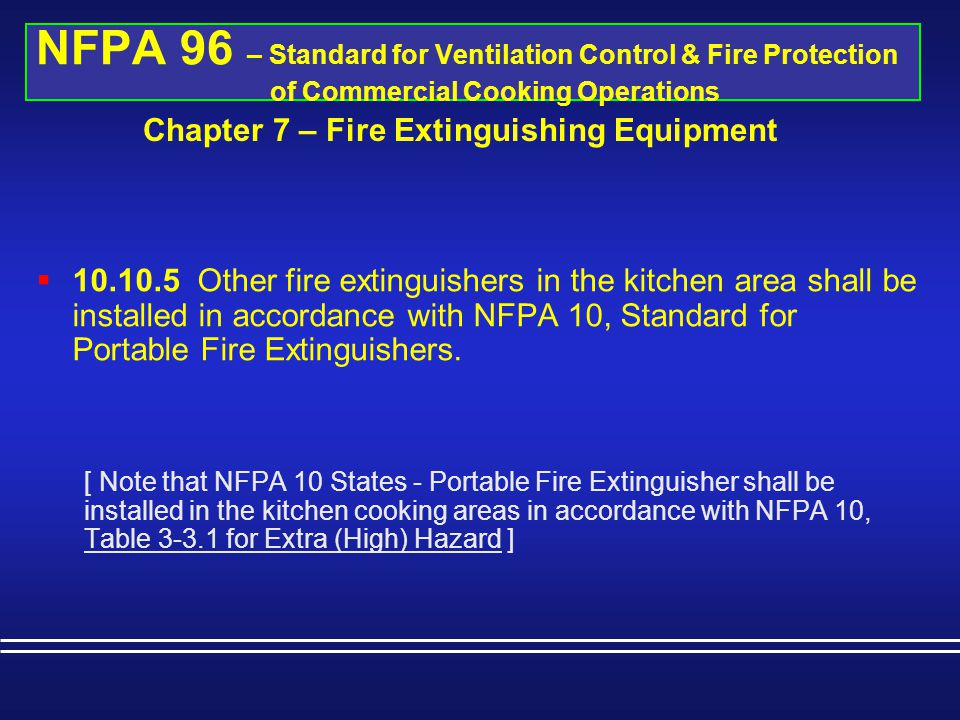 Chapter 7 – Fire Extinguishing Equipment