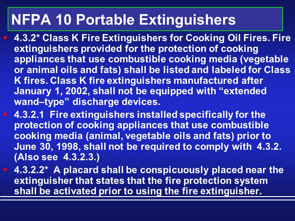 NFPA 10 Portable Extinguishers