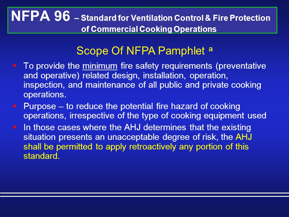 Scope Of NFPA Pamphlet a