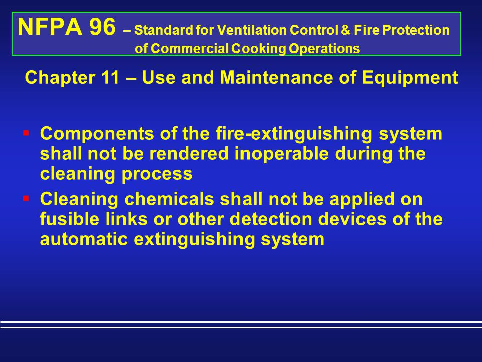 Chapter 11 – Use and Maintenance of Equipment