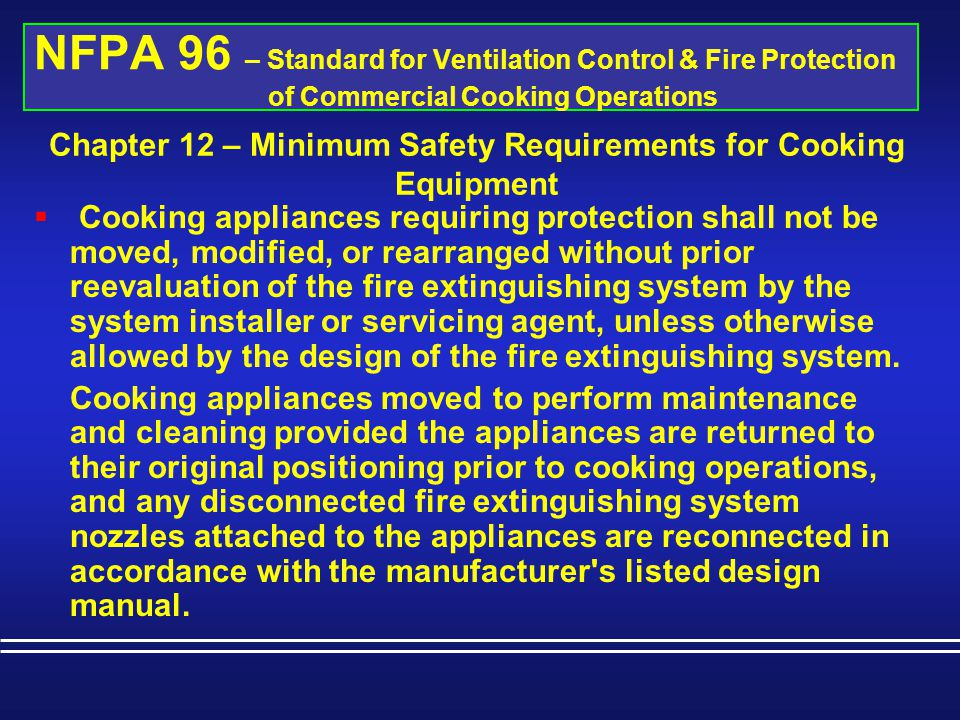 Chapter 12 – Minimum Safety Requirements for Cooking Equipment
