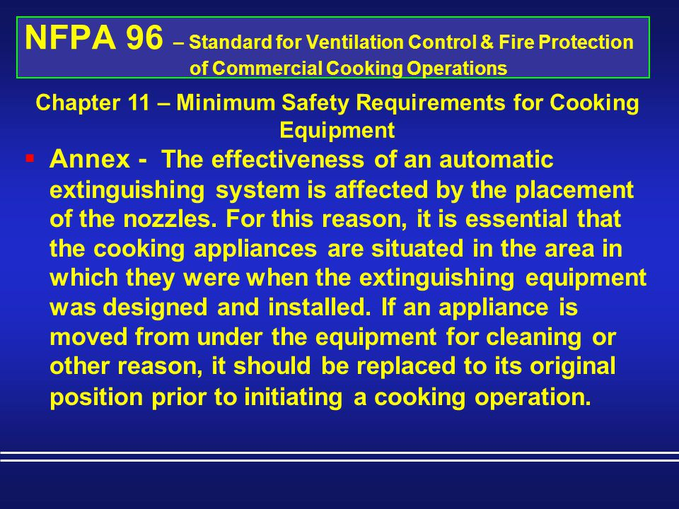 Chapter 11 – Minimum Safety Requirements for Cooking Equipment
