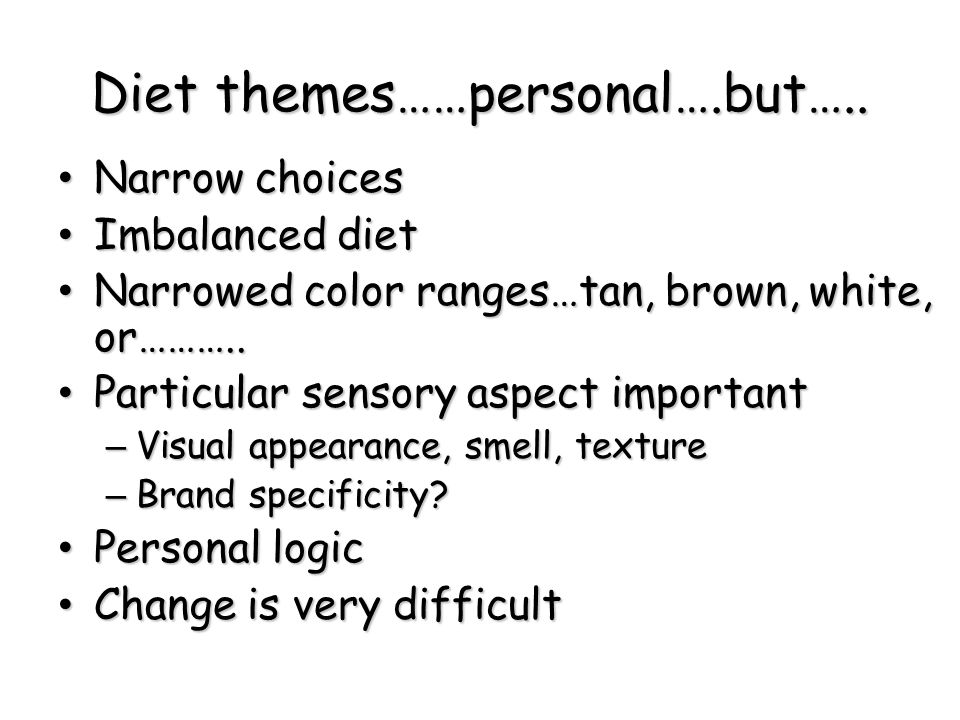 Diet themes……personal….but…..