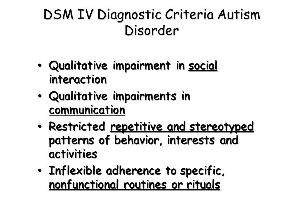 DSM IV Diagnostic Criteria Autism Disorder
