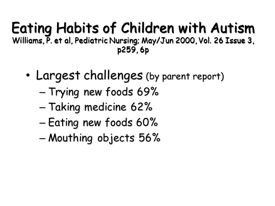 Eating Habits of Children with Autism Williams, P