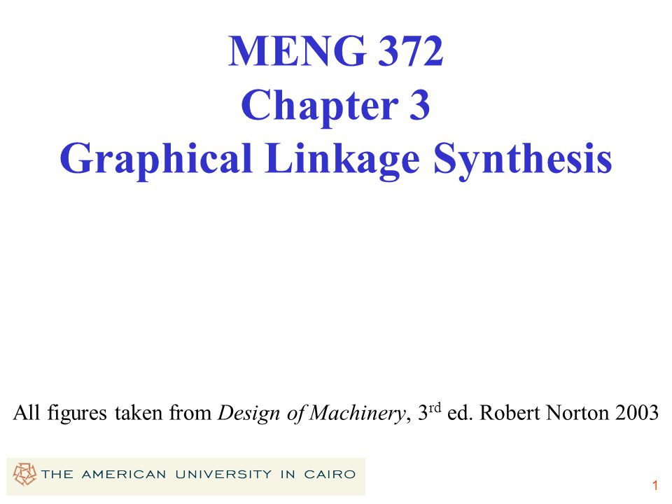 MENG 372 Chapter 3 Graphical Linkage Synthesis