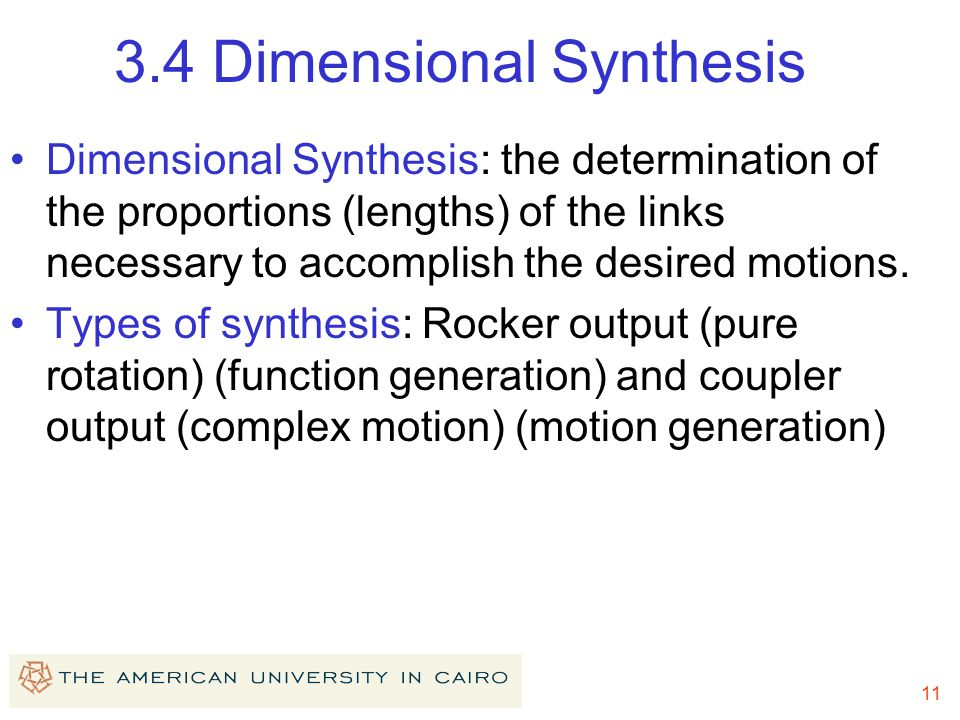3.4 Dimensional Synthesis
