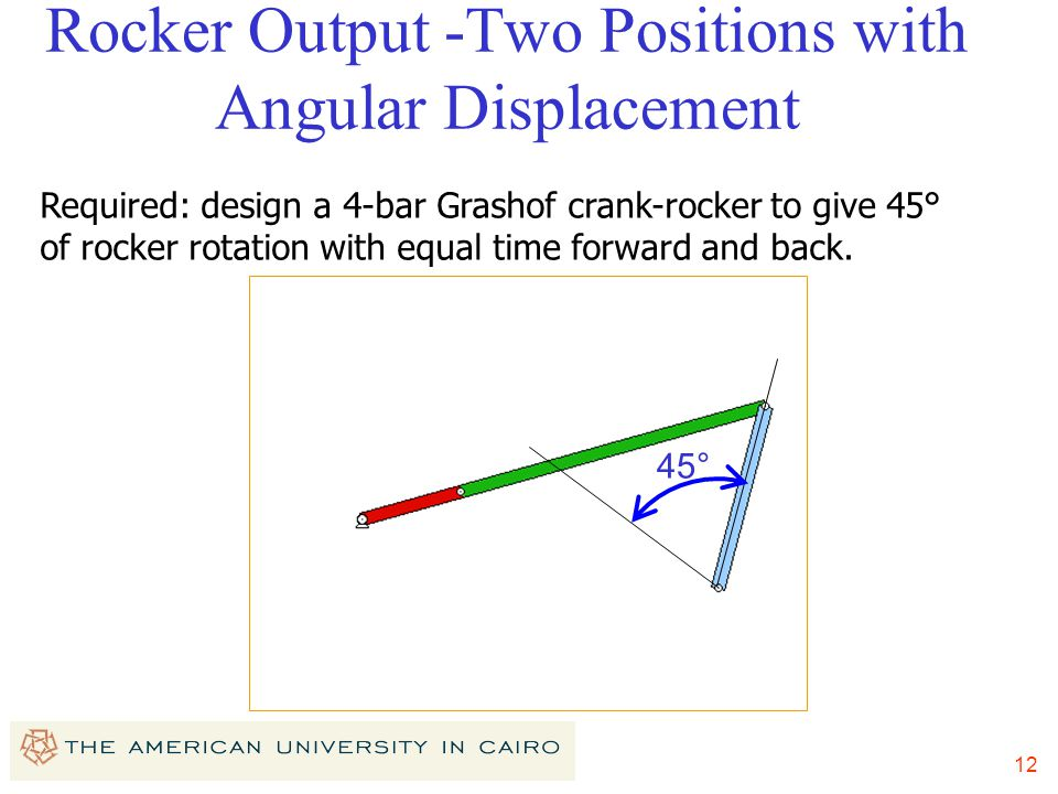 Rocker Output -Two Positions with Angular Displacement