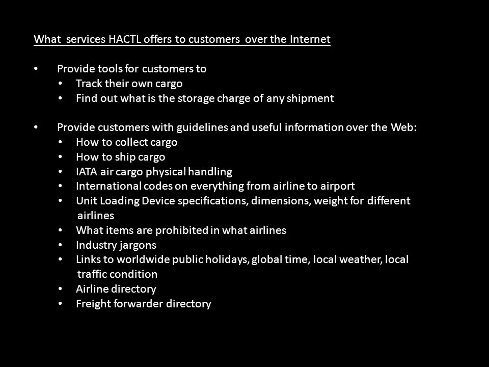 What services HACTL offers to customers over the Internet