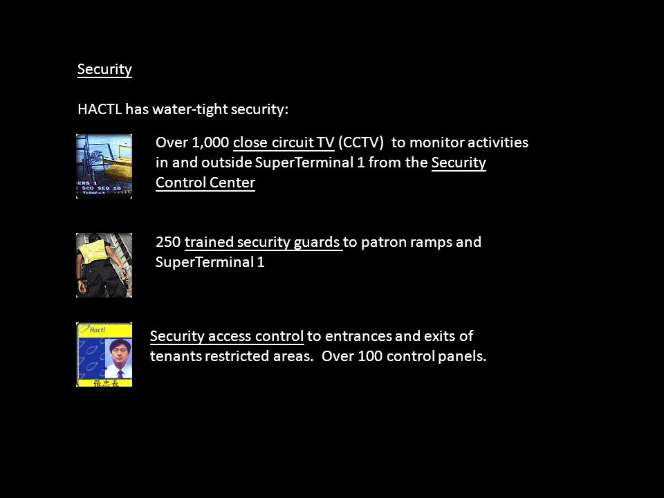 Security HACTL has water-tight security: