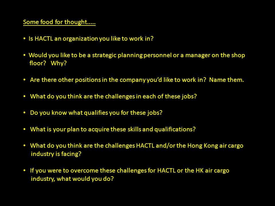 Some food for thought..... Is HACTL an organization you like to work in