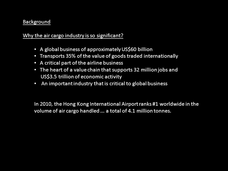 Background Why the air cargo industry is so significant A global business of approximately US$60 billion.