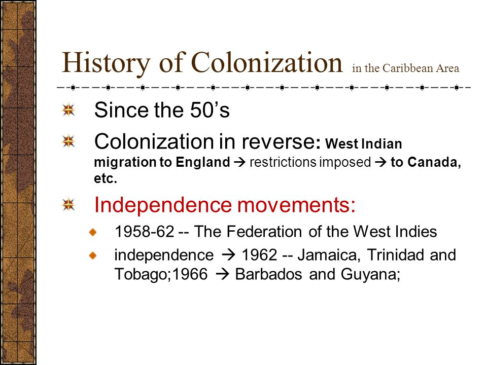 History of Colonization in the Caribbean Area