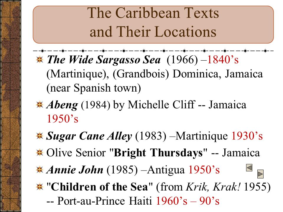 The Caribbean Texts and Their Locations