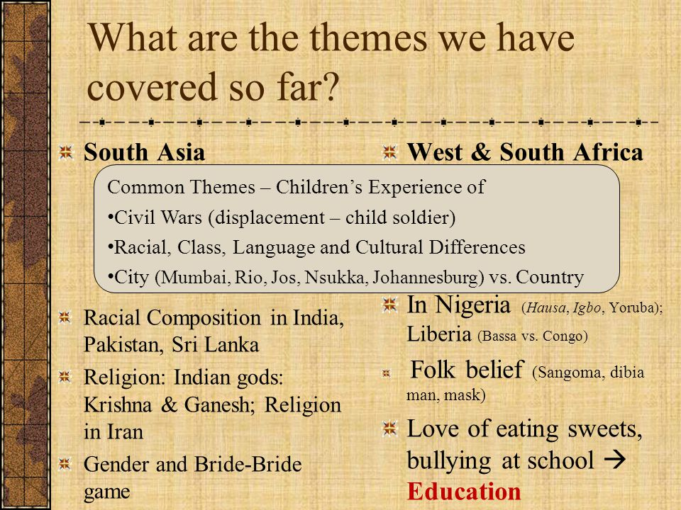 What are the themes we have covered so far