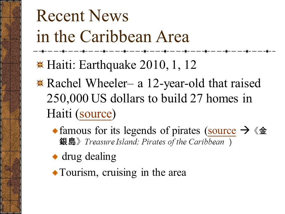 Recent News in the Caribbean Area