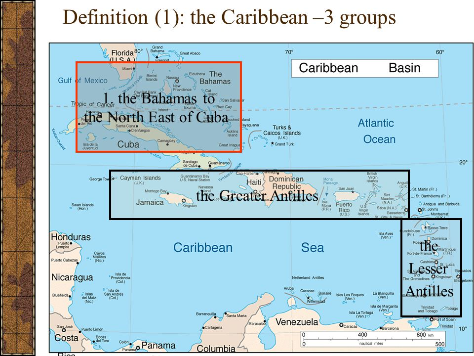 Definition (1): the Caribbean –3 groups