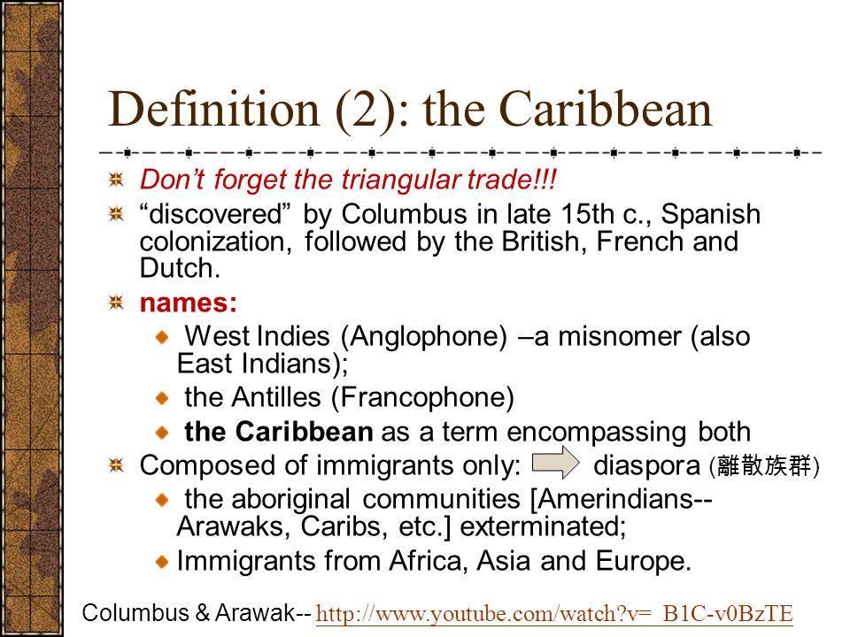 Definition (2): the Caribbean