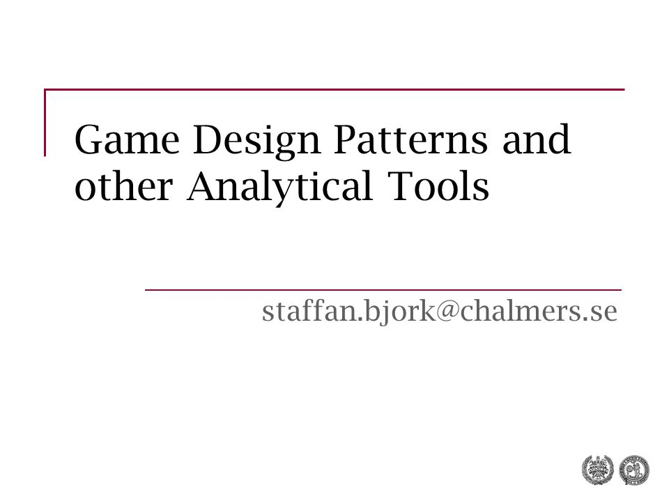 Game Design Patterns and other Analytical Tools