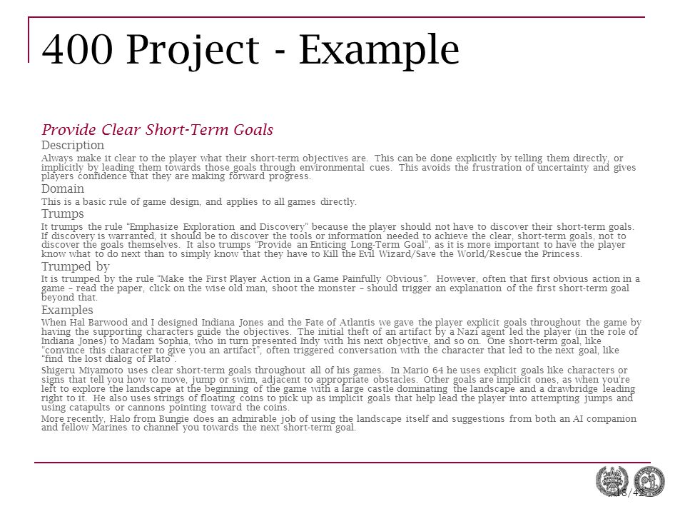 400 Project - Example Provide Clear Short-Term Goals Description