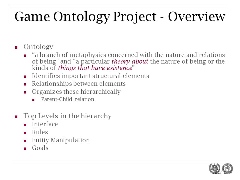 Game Ontology Project - Overview