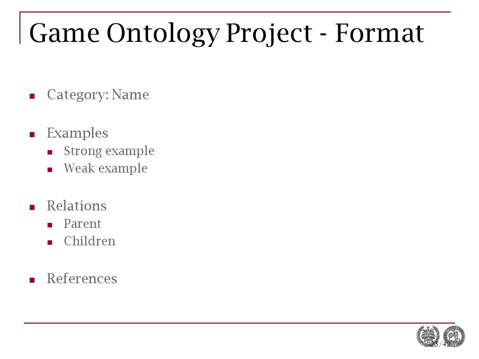 Game Ontology Project - Format