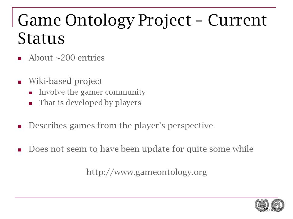 Game Ontology Project – Current Status