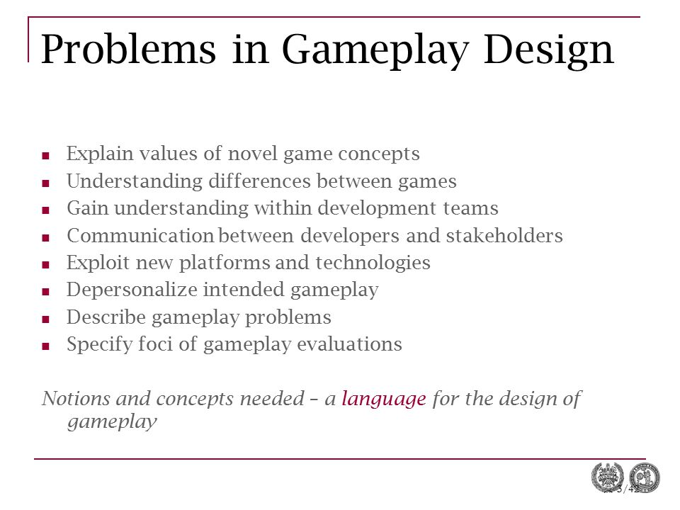 Problems in Gameplay Design