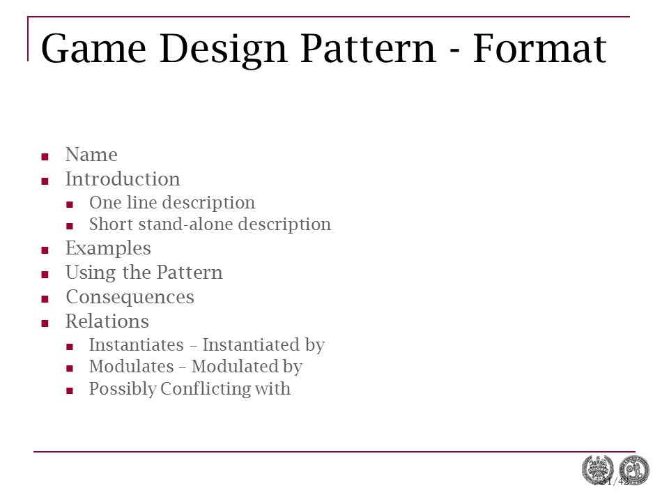 Game Design Pattern - Format