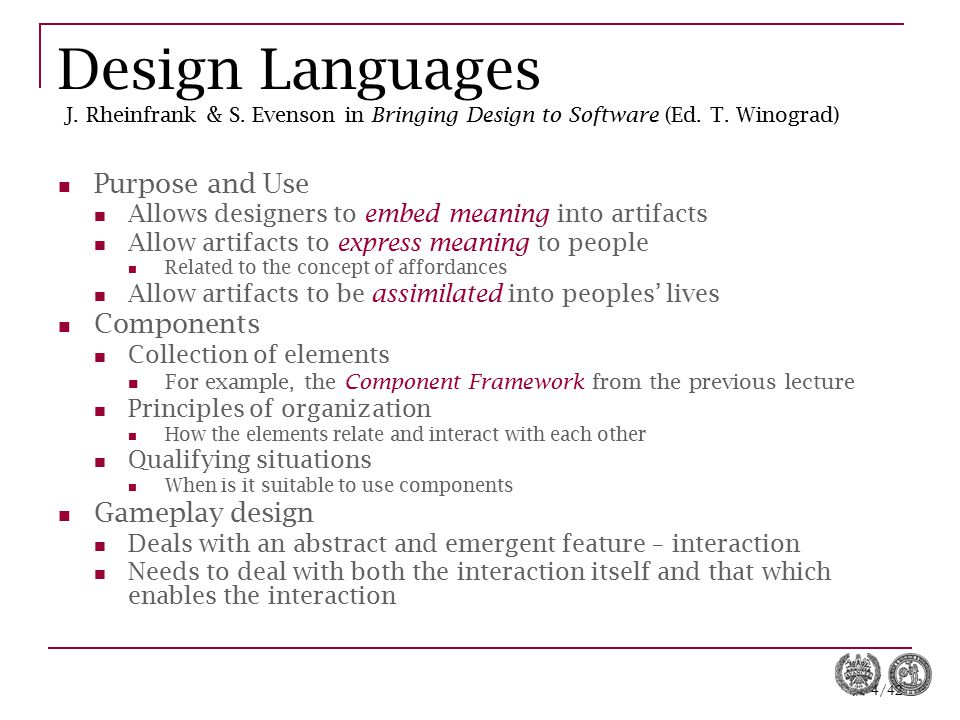 Design Languages J. Rheinfrank & S